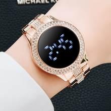 Montre magnétique numérique de luxe pour femmes, en acier inoxydable, or Rose, Quartz, horloge féminine