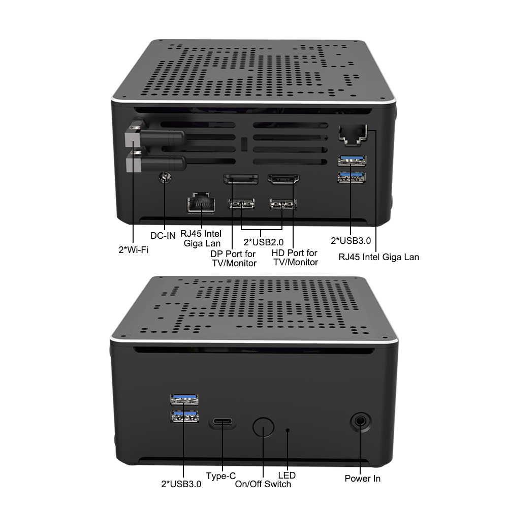 S210 Gaming Mini PC Intel Core i7 i9 9980HK 9850H 2 * Intel Lans 2 * DDR4 2 * M.2 NVME Micro Computador Windows Linux 10 4K HTPC HDMI DP