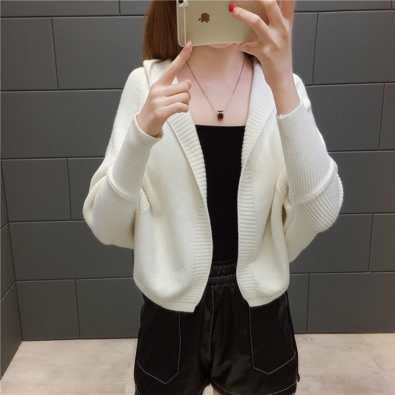 2019 Free send New style Korean loose and comfortable Autumn women Cardigan Sleeve of bat Hooded Sweater coat 145