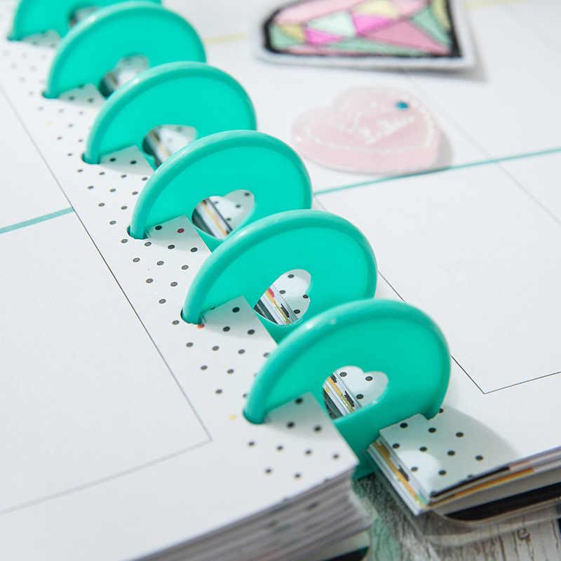 10 Pcs 35 Mm Warna-warni Hati Binder Cincin Jamur Lubang Longgar Daun Bulat Mengikat Plastik Disc Gesper Ring DIY binder Notebook