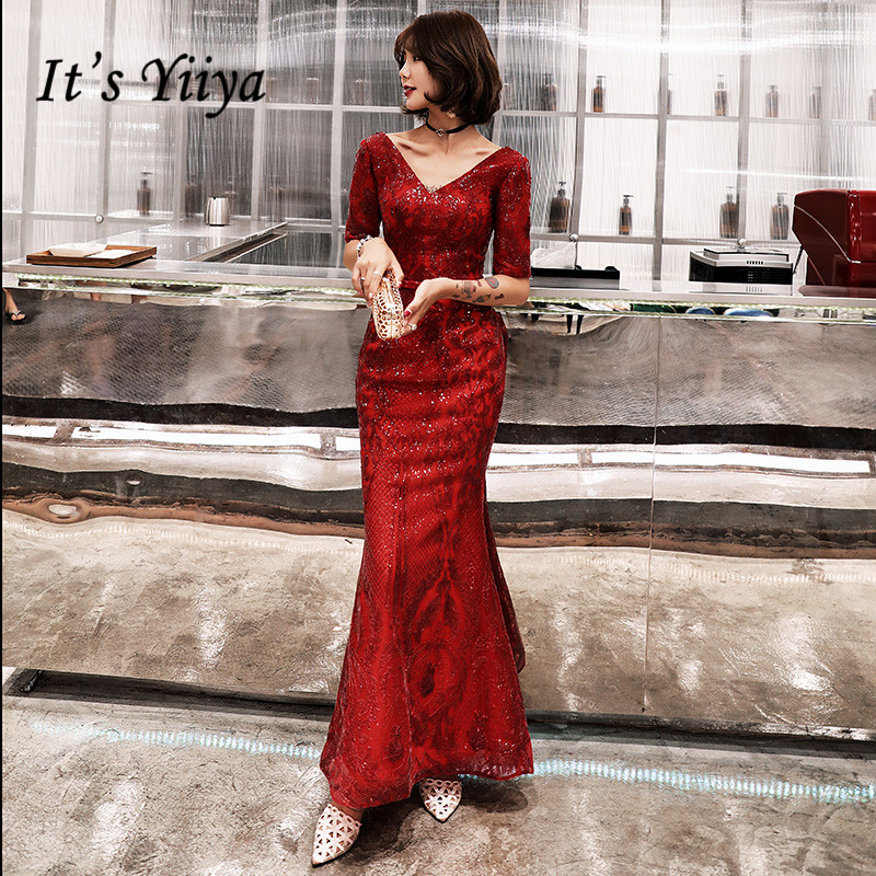 It's Yiiya Evening Dress Sequins Shining V-neck Evening Dresses Mermaid Long Formal Gowns Half Sleeve Robe De Soiree LF145