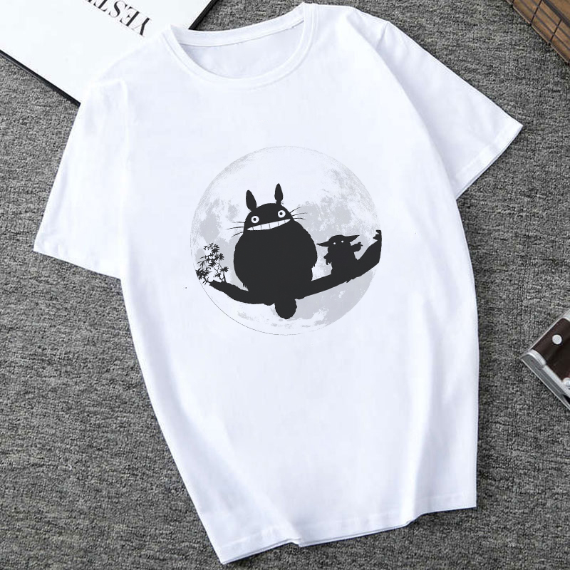 Showtly  2019 STAR WARS Men/Women Totoro And Cute Tiny Yoda Kids Printed T-shirt  Fantastic Mandalorian Baby  Design Tee Tops