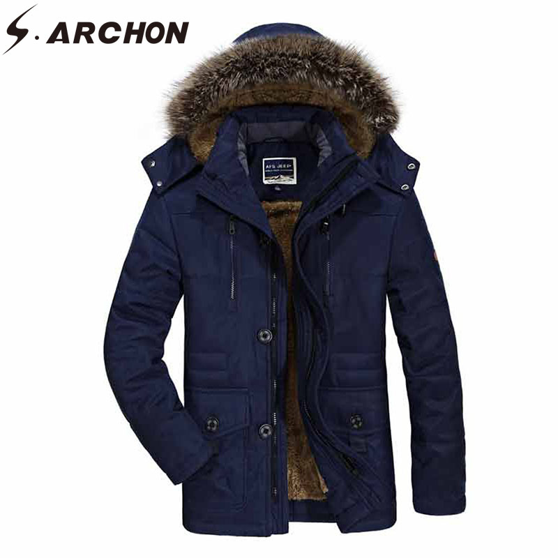 S ARCHON Winter Thick Jacket Men Outwear Warm Waterproof Windbreaker Hoodies Coat Jacket Casual Tactical Military Jacket Clothes in Jackets from Men 39 s Clothing