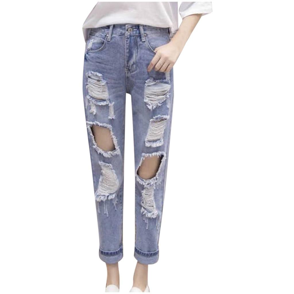 Fashion High Waist Jeans Womens Hole Ladies Denim High Loose Casual Pencil Solid Pants Boyfriend Jeans For Women Spodnie Damskie