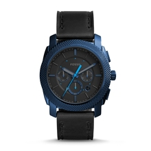 FOSSIL Machine Chronograph for Men Blue Case Black Leather Watch reloj fossil hombre with box FS5361P