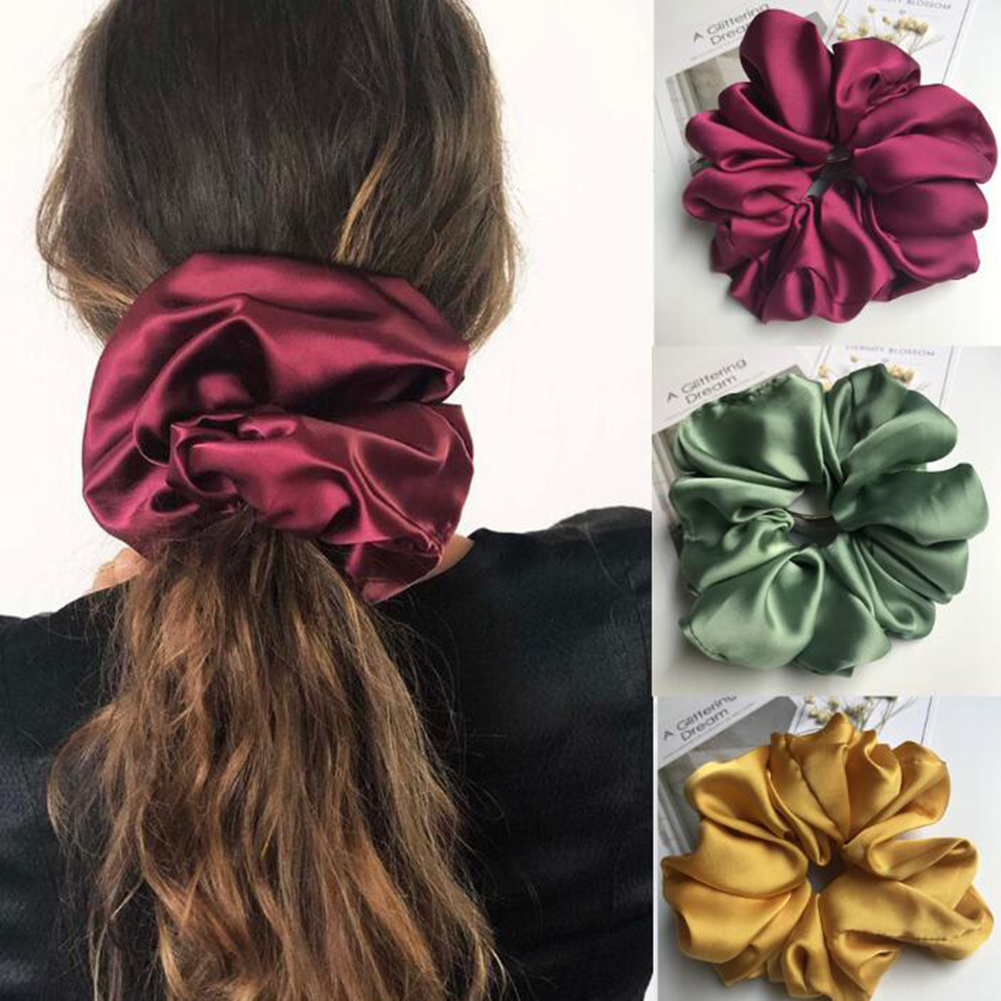 Oversized Scrunchies Big Rubber Hair Ties Elastic Hair Bands Girs Ponytail Holder Smooth Satin Scrunchie Women Hair Accessories 1