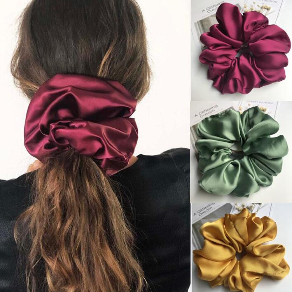 Ponytail-Holder Hair-Accessories Satin Scrunchie Rubber Elastic Women Big Smooth Girs