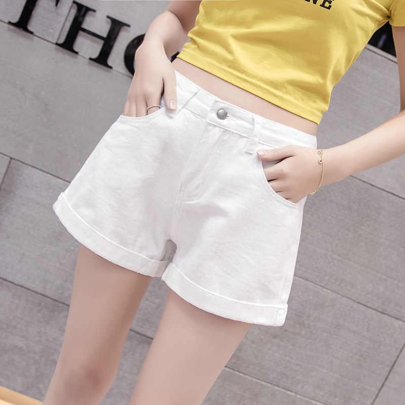 Garemay Vintage Wanita Denim Celana Pendek Jeans Wanita Tinggi Klasik Pinggang Biru Lebar Kaki Caual Wanita Musim Panas Celana Pendek Jeans wanita