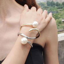 MANILAI Imitation Pearl Bracelets For Women Accessories Fashion Metal Geometry Cuff Bangles Statement Jewelry Wholesale Gift