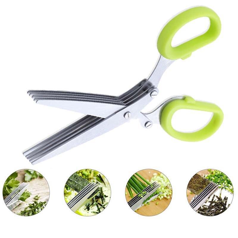 Stainless Steel Vegetable Scissors 5 Blades Kitchen Scissors Sushi Shredded Scallion Scissors Herb Spices Cutter Kitchen
