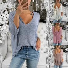 HEFLASHOR Women Autumn Sweaters Long Sleeve Knitted Solid Deep V-Neck