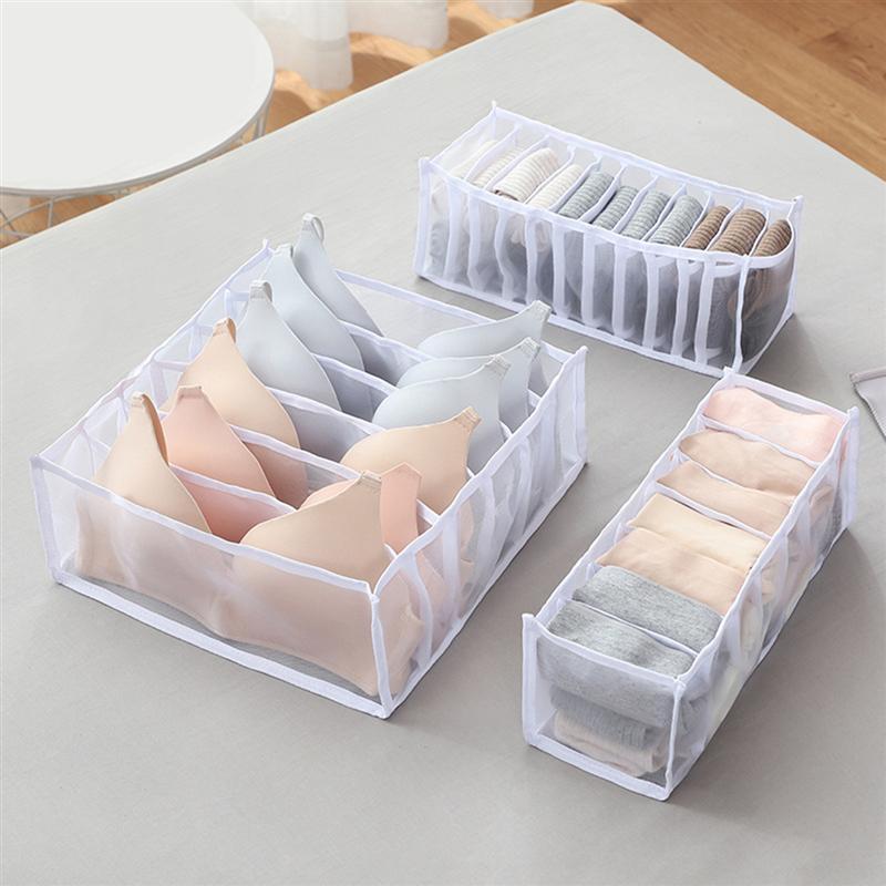 1 Set von 3PCS Nylon Unterwäsche Lagerung Box Fächer Bh Lagerung Fall Flexible Unterwäsche Organizer Box Multi-zweck grids Sto