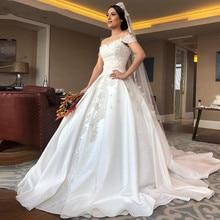 2020 luxo completo beading vestido de baile vestidos de casamento plus size árabe dubai fora do ombro pérolas cetim vestidos de noiva