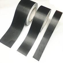 3d de fibra carbono adesivo do carro diy colar protetor tira auto porta peitoril espelho lateral anti scratch fita à prova dwaterproof água película proteção