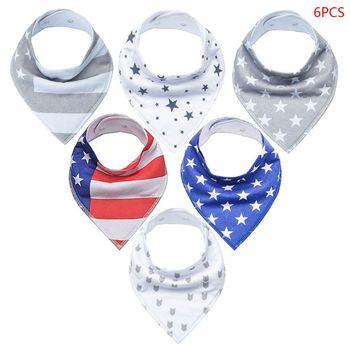 6 Pcs/set Newborn Baby Drool Bibs Absorbent Cotton Bib for Infants Drooling Teething Feeding Unisex Saliva Towel G99C