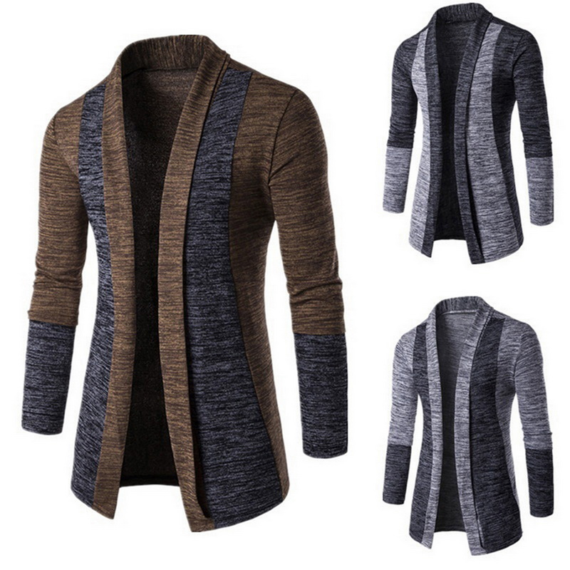 MONERFFI Men Patchwork Slim Cardigan Autumn Winter Warm Casual Sweaters Long Knitted Turn-down Collar Outerwear Plus Size M-4XL