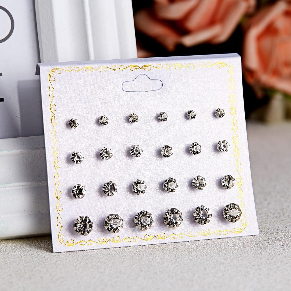 12 Pairs/set Stud Earrings Set With Card Transparent Zircon Balls Love Flowers Earrings Women Imulated Pearl Earrings Jewelry 44