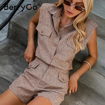 BerryGo Sleeveless women two piece set suit High waist female office summer suits High street causel pocket short suit female 1