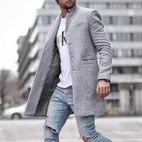 Autumn And Winter Fashion Pure Color Long Warm Coat Men Plus Size Outwear Black Warm Men's Long Blazer Coats Office Overcoat 4XL