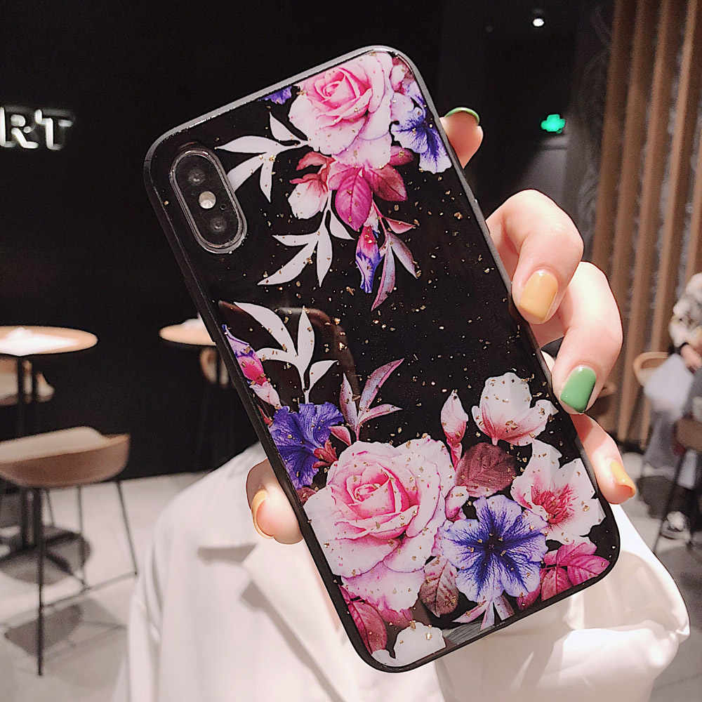 Mewah Bunga Glitter Bling Soft TPU Phone Case untuk iPhone 7 7 Plus 6 6S Back Cover UNTUK iPhone 11 pro X XS Max XR Bunga Kasus