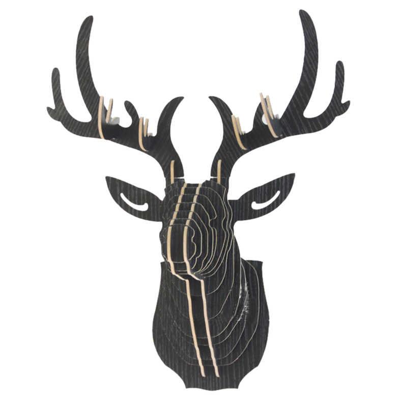 3D Houten Animal Deer Head Art Model Home Office Muur Opknoping Decoratie Opslag Houders Rekken Gift Ambachtelijke Home Decor