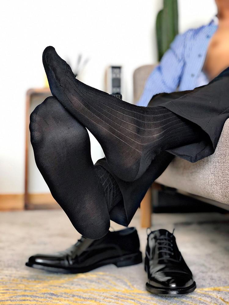 Men's Socks Mercerized Cotton Texture Dark Stripes Gentleman Dress Men With Medium Tube Cotton Socks Formal Dress Black Socks