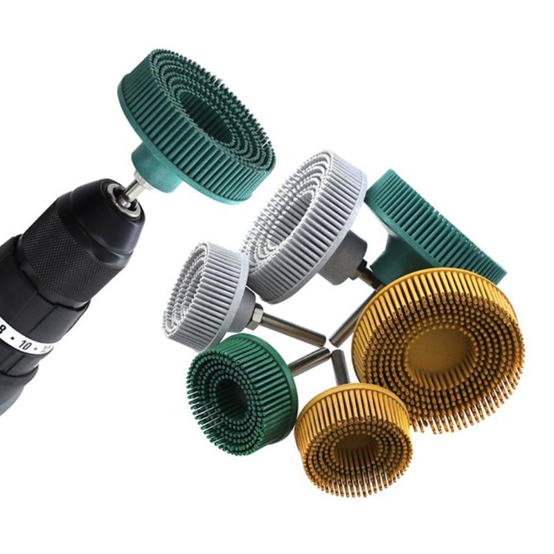 2/3 In Electric Drill Disc Brush Emery Rubber Abrasive Deburring Polishing Brush Metal Polishing Removing Scratch Rust Hand Tool