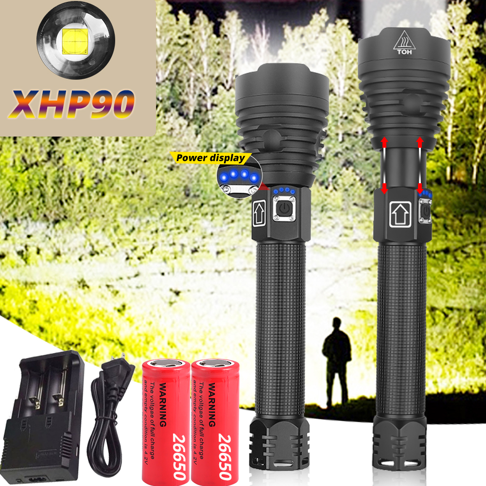 Most Powerful XHP90 LED Flashlight Super Power XHP70 LED Torch USB XHP50 Lamp Zoom Torch Use 26650 Rechargeable Battey