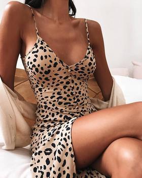 Summer Dress Fashion 2020 Elegant Women Leopard Print Bodycon Cami Dress Buttoned Spaghetti Strap V Neck Mini Sexy Party Dress цена 2017