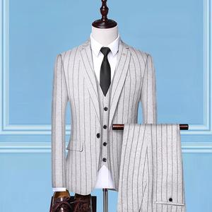 ( Jacket + Vest + Pants )2019 New Fashion Boutique Striped Mens Casual Business Suit 3 Pcs Set Groom Wedding Dress Brand Suit
