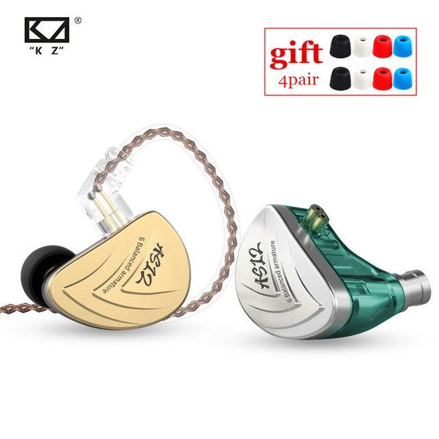 NEW KZ AS12 6BA In Ear Earphones HIFI Sport Monitor Headset Noise Cancelling Earphone Earbud AS16 AS10 AS06 ZS10 PRO ZSX C16 C12