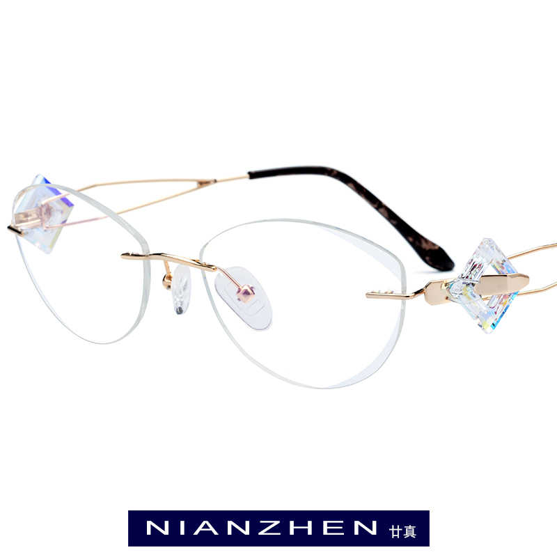 B 線チタン眼鏡フレーム女性の高級ダイヤモンドトリミングカットフレームレスリムレス光学 7714
