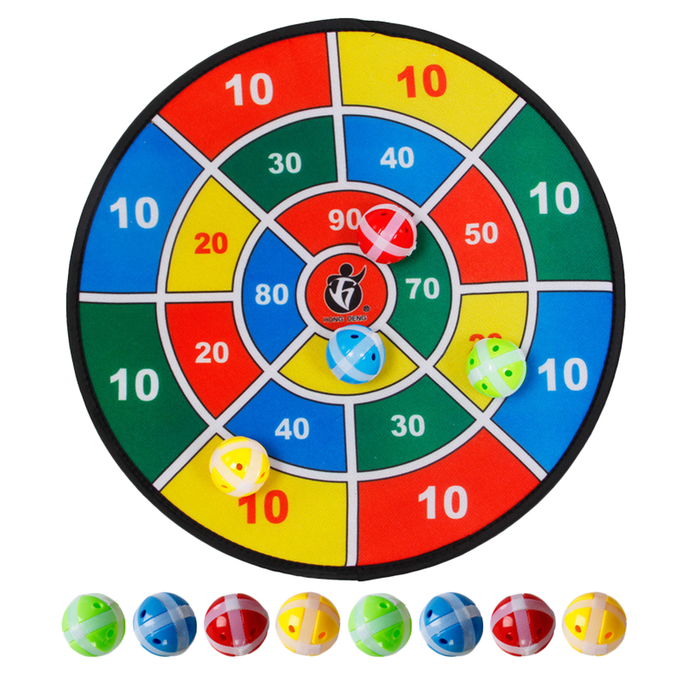 Safety Fabric Dart Board Set Target Throw Game Toy Pressure Releasing Plyathing With 8 Hook & Loop Balls For Children