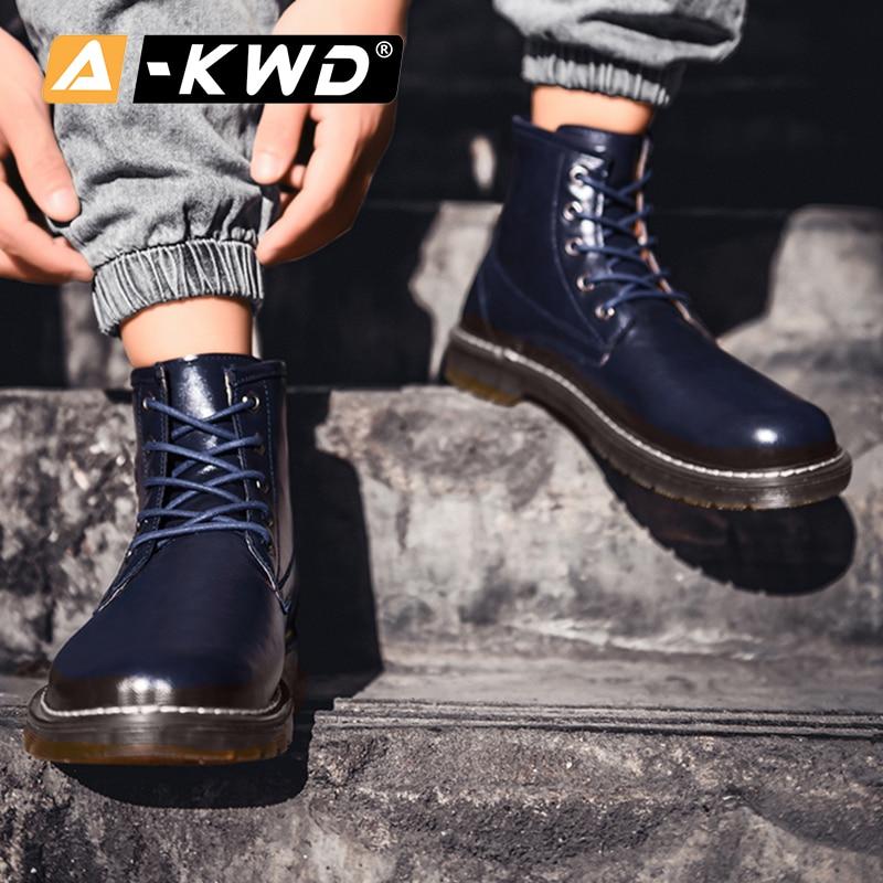 Mode noir marron bleu vert bottines haut haut outillage chaussures hommes Chealsea bottes hommes hommes bottes décontracté en cuir Pu homme bottes - 3