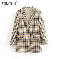 Fashion Plaid Women Blazers Long Sleeve Buttons Office Warm Coat Ladies Pockets Single Breasted Casual Jacket Female Chaqueta