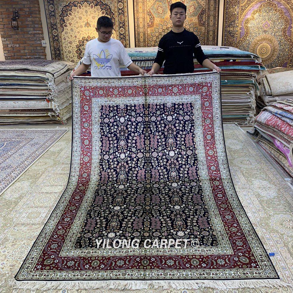 Yilong 5,5 'x 8' antikke håndlagde teppe håndknyttede rabatterte - Hjem tekstil