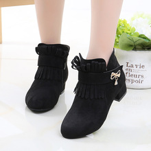 Fashion Fringe High Heel Children Shoes For Girls Winter Leather Boots Kids Bow Snow Autumn 4 5 6 7 8 9 10 11 12 Year Old