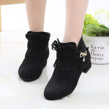 цена Fashion Fringe High Heel Children Shoes For Girls Winter Leather Boots Kids Bow Snow Boots Autumn 4 5 6 7 8 9 10 11 12 Year Old онлайн в 2017 году
