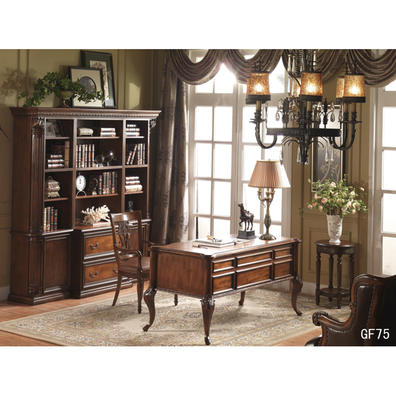 Home Office Furniture Set Laptop Table Study Table Furniture Birch Wood Leather Chair GF75