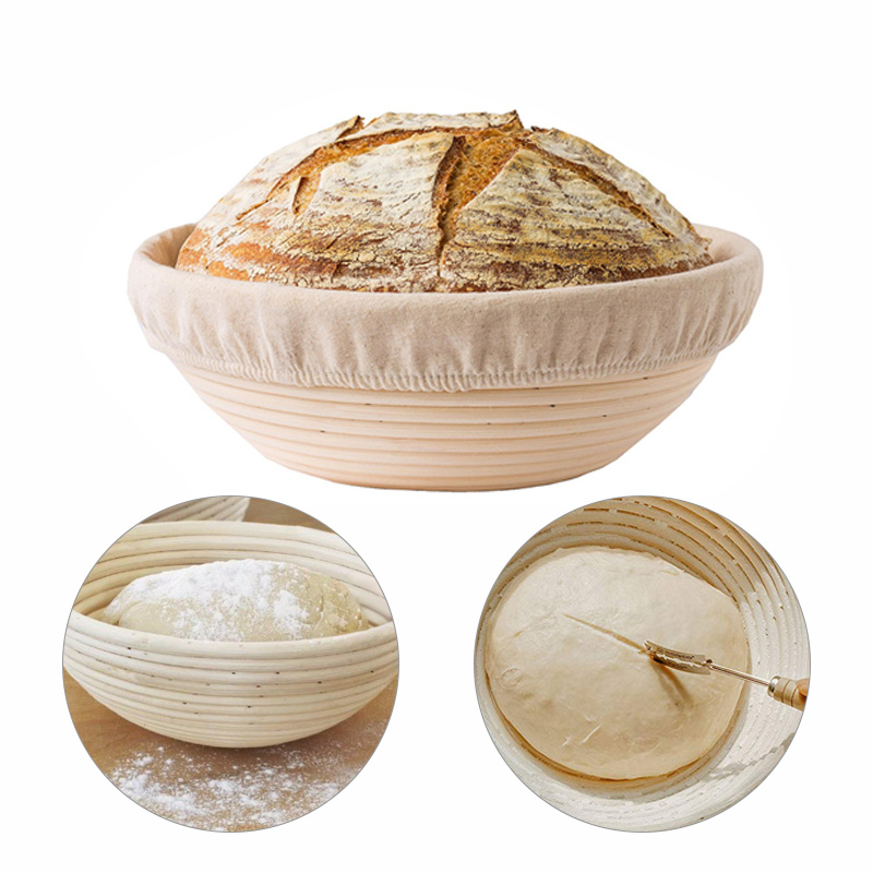 1 Pcs Natural Oval Rattan Fermentation Wicker Basket Country Baguette French Bread Mass Proofing Baskets Dough Banneton Baskets