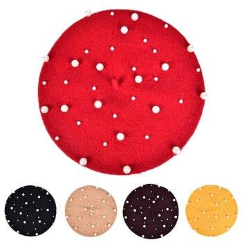 Winter Pearl Diamond Decoration Knit Beret Ladies Wool Warm Flat Pumpkin Hat Bead Bone Fashion Femal