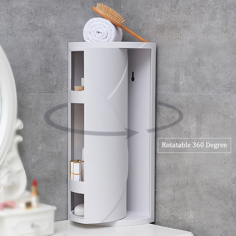 Rack Shampoo-Holder Rack-Rotating Kitchen-Organizer Bathroom Corner-Shelf 360-Degree title=