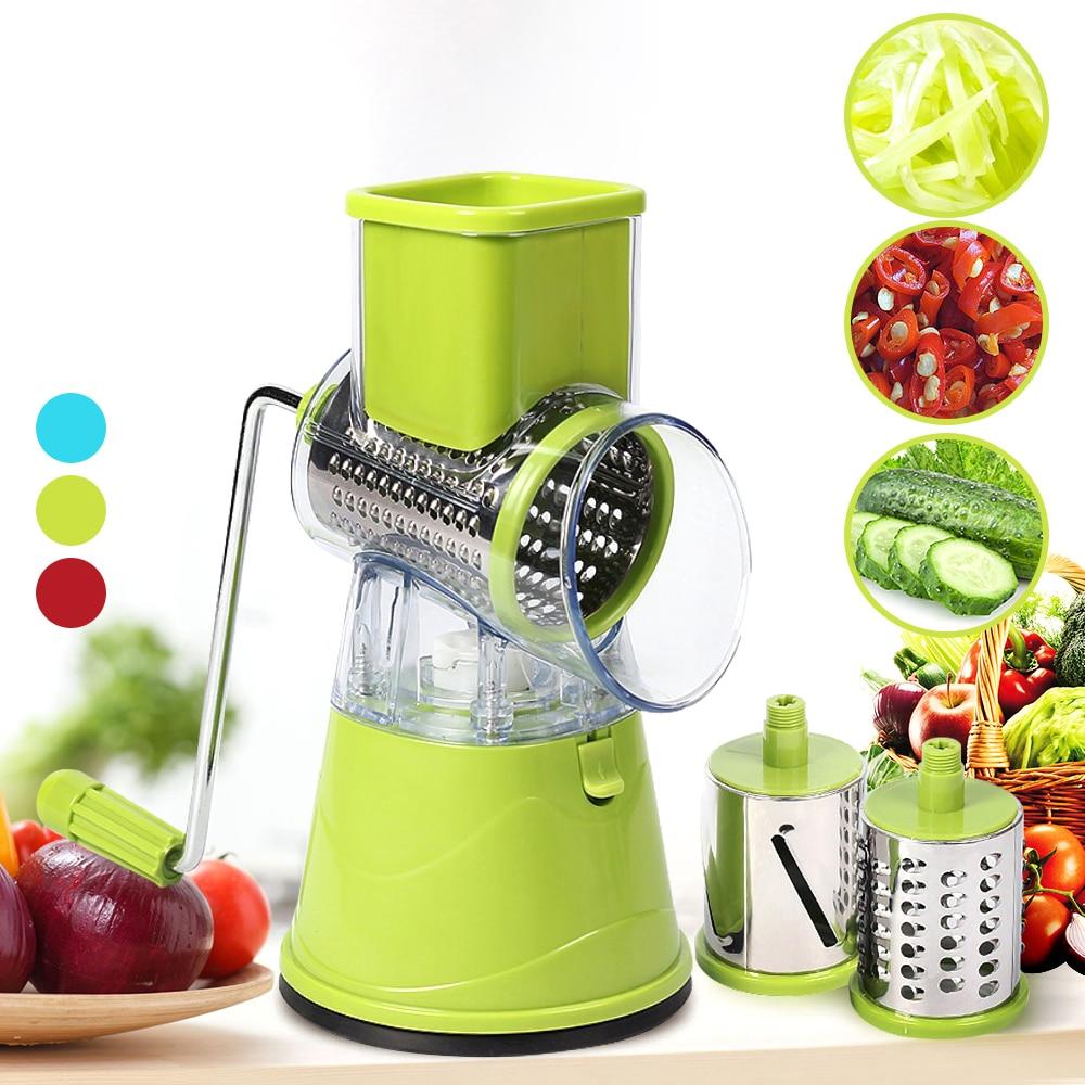 マニュアル野菜ポテトローラーカッターステンレス鋼の刃キッチンスライサーローラー切断機ハンドヘルドフードプロセッサー #1