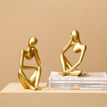 Nordic Abstract Character Golden Decoration Creative Home Ornament Drawing Room Office Sandstone Decor gift statue Sculpture abstract thinker statue creative desktop diy decor hand carved sandstone statues home decoration accessorie decorative sculpture