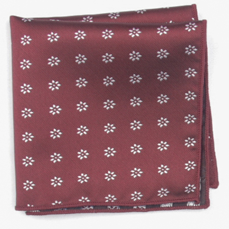 Burdundy Patterned Pocket Square With Patterns Handkerchief