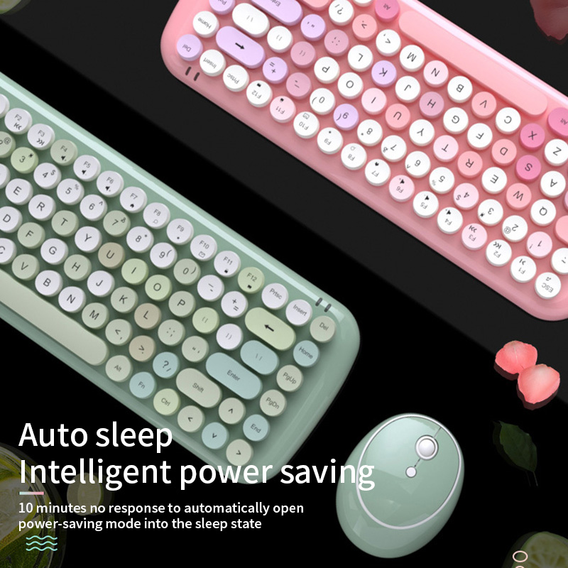 1600DPL Wireless keyboard and mouse mini set round punk desktop 84 keys 10 meters transmission distance,Pink