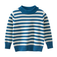 Boys Girls Casual Sweaters Pullover Knitted Long Sleeve Striped Kids Autumn Winter Tops Clothes