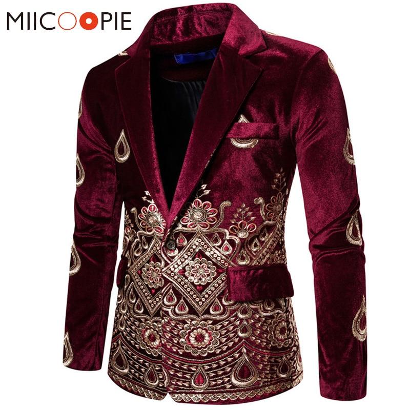 Floral Embroidery Wedding Suits For Men Luxury Wine Velvet Formal Slim Fit Single Button Mens Party Clothes Business Suit Jacket