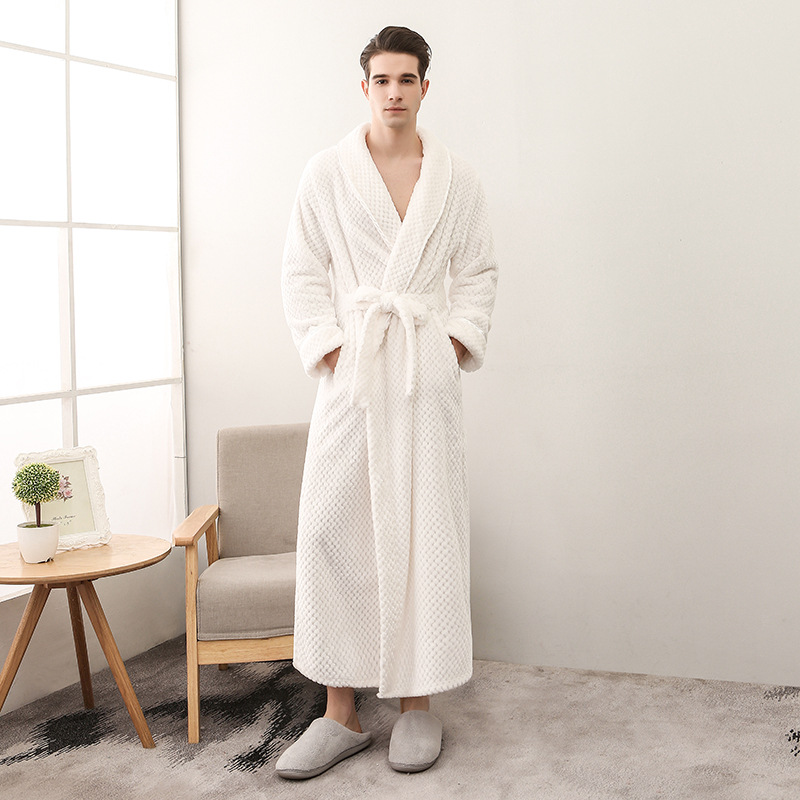 Men Winter Extra Long Thick Warm Grid Flannel Bathrobe Mens  Kimono Bath Robe Women Sexy Robes Male Thermal Dressing Gown
