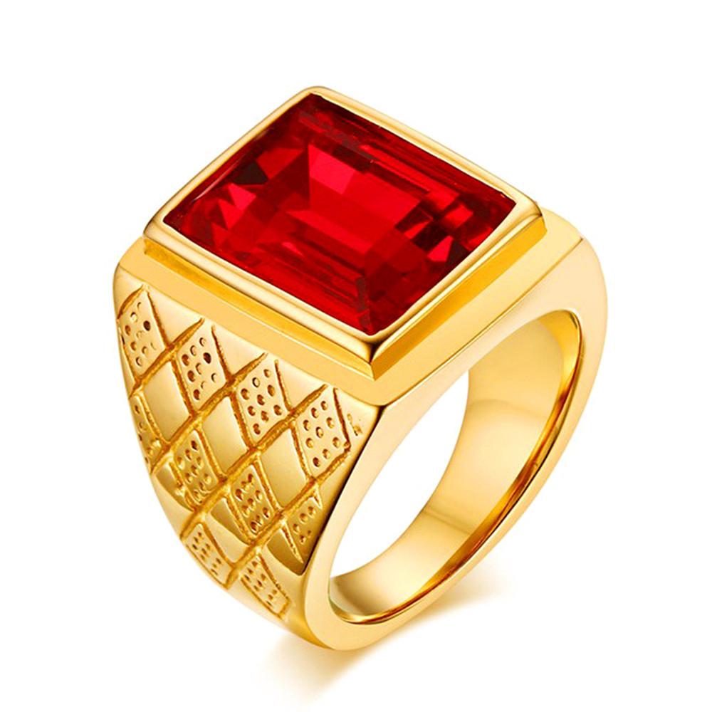 Big square ruby red gemstones Rings for men gold color titanium stainless steel jewelry bague bijoux masculine finger accessory
